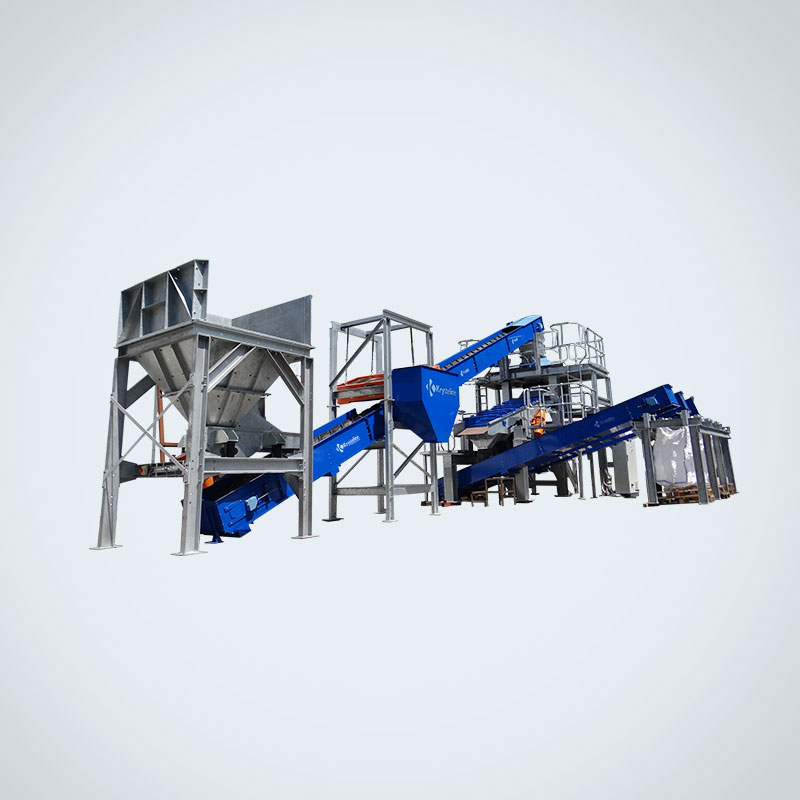 K500-C-SC glass processing plant, consisting of the K500 Imploder glass crusher, conveyor and screener system